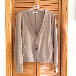Mike & Chris Taupe Deep V Grommet Cardigan Sweater